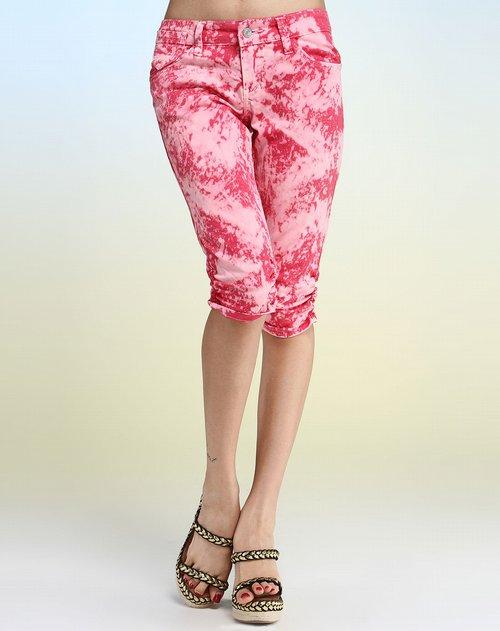 粉红色渐变牛仔中裤