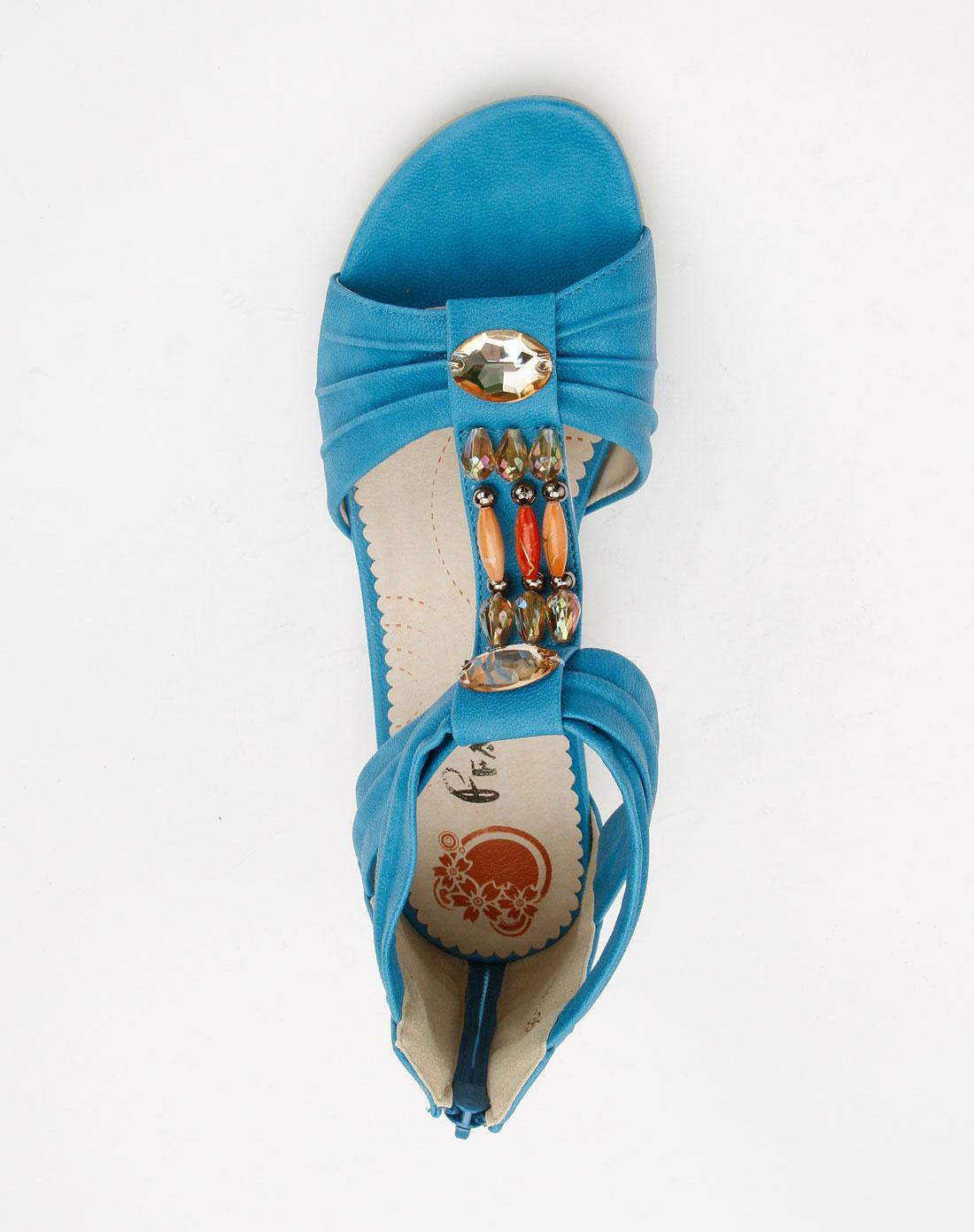 法索里fasoli女鞋专场-蓝色闪石时尚休闲凉鞋