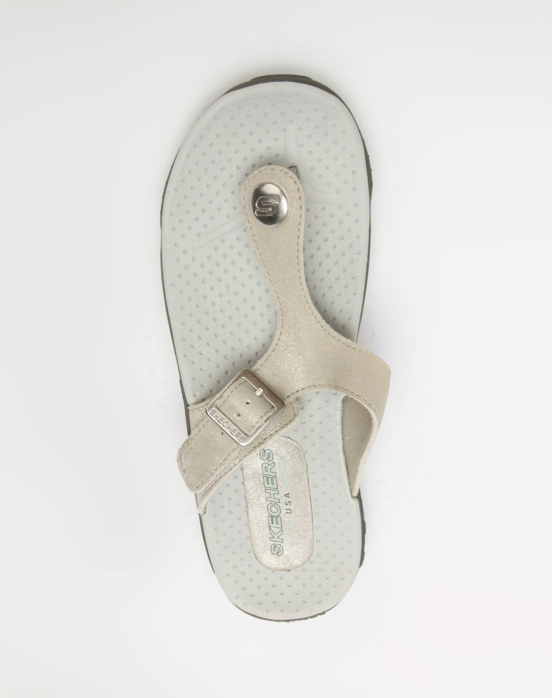 女款银灰色人字凉鞋