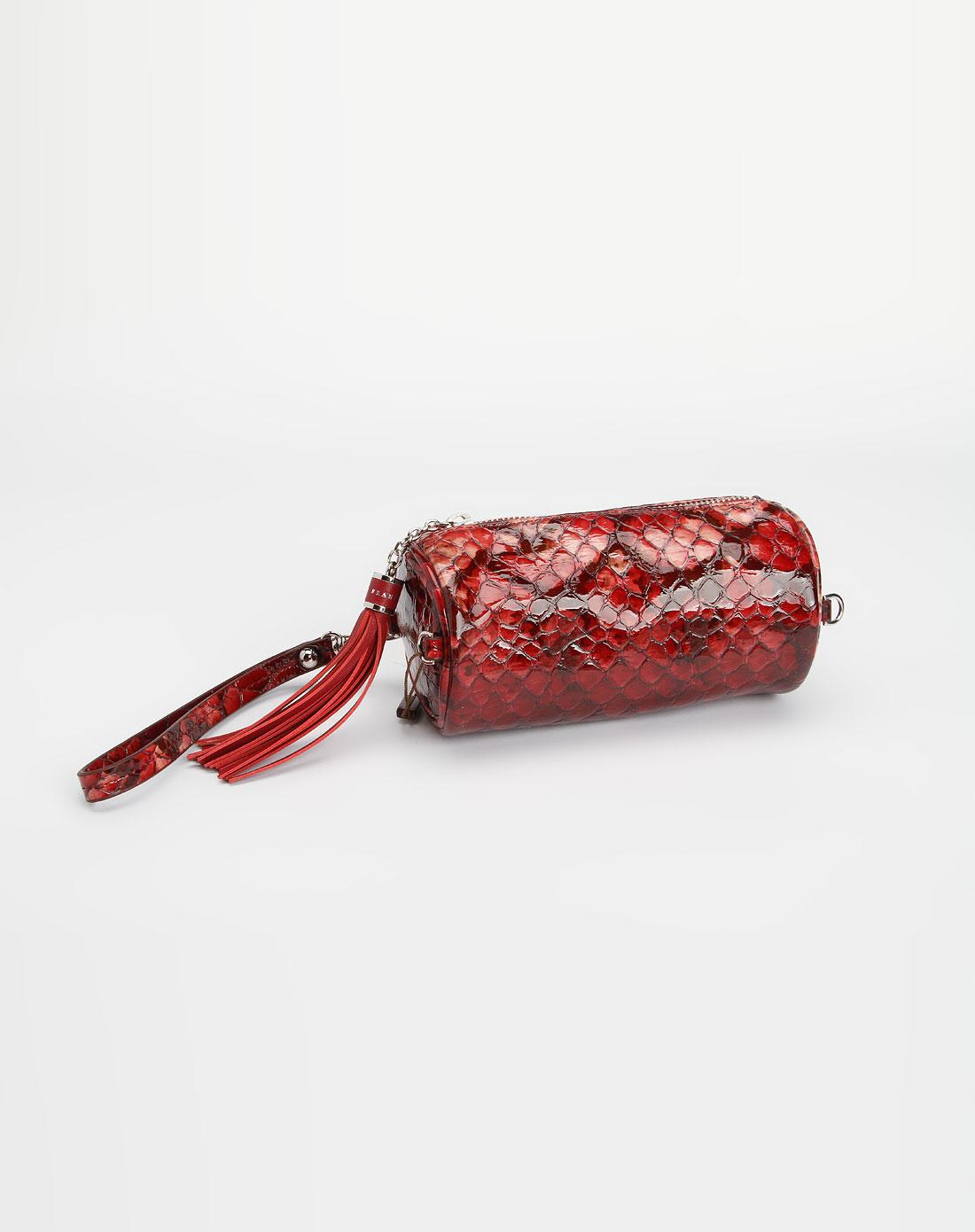 深红色鳄鱼纹圆筒形两用小包