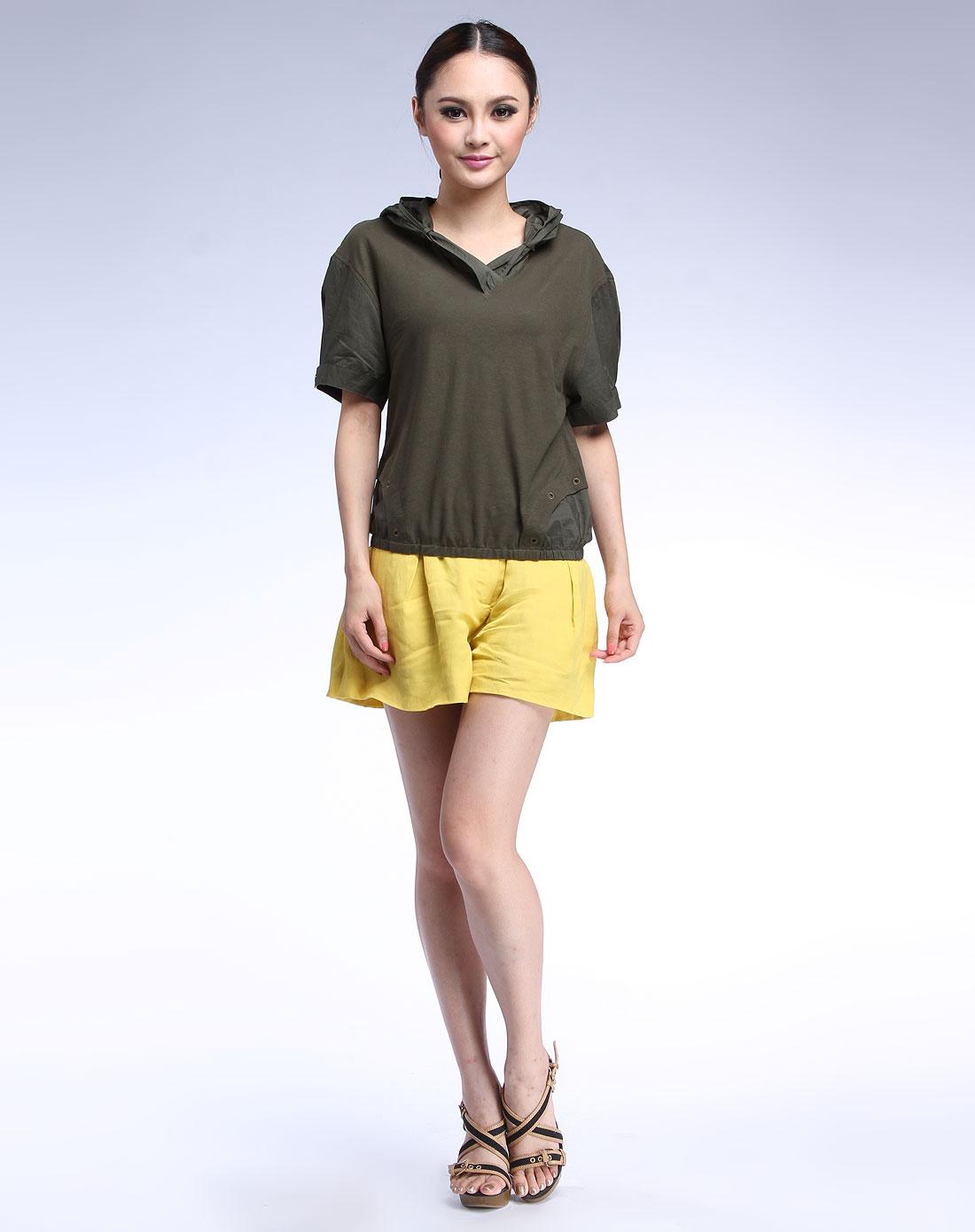女款军绿色个性短袖上衣
