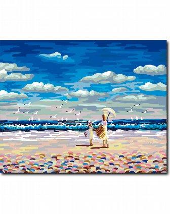 diy数字油画海滩绷内框版 赠送仿世界名画一幅(梵高星空)