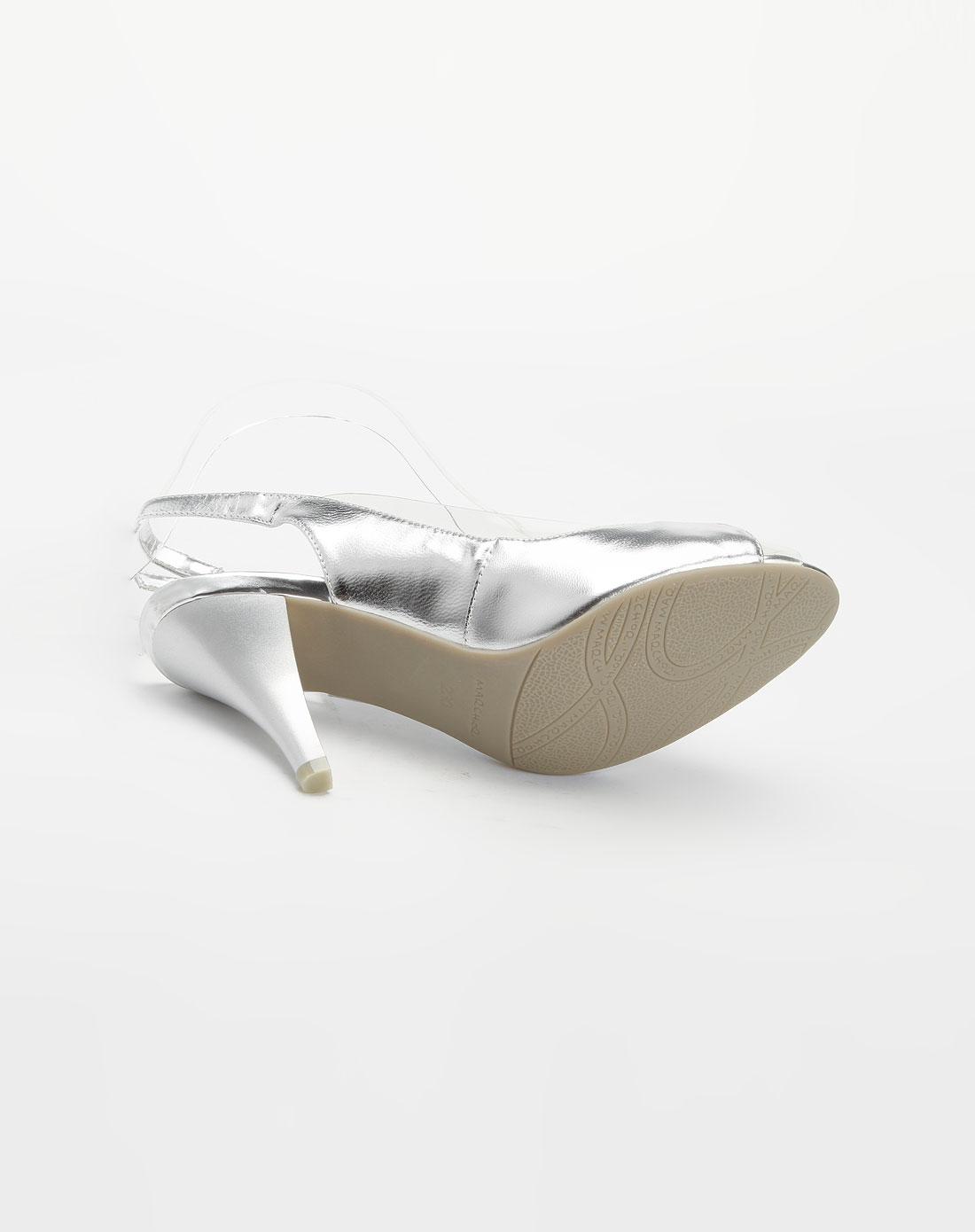 蜜丝罗妮marchiori银色珠片高跟凉鞋27092225-0035