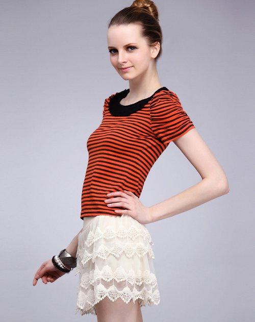 橙红色条纹短袖针织衫