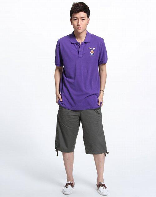 蓝色天空mbsky男装专场紫色时尚短袖polo衫