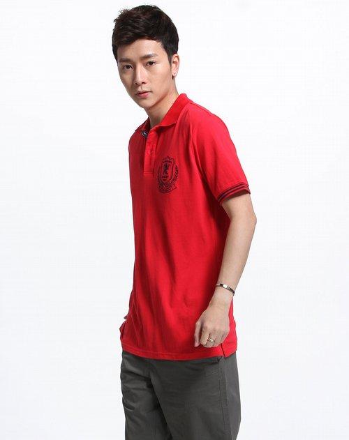 蓝色天空mbsky男装专场红色时尚短袖polo衫