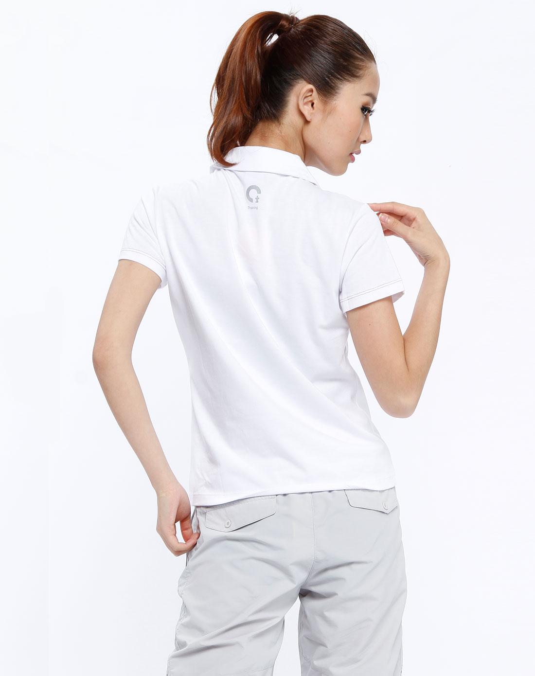 女款白色翻领短袖上衣1