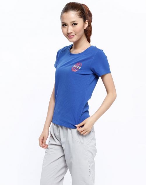 女款深蓝色圆领短袖t恤