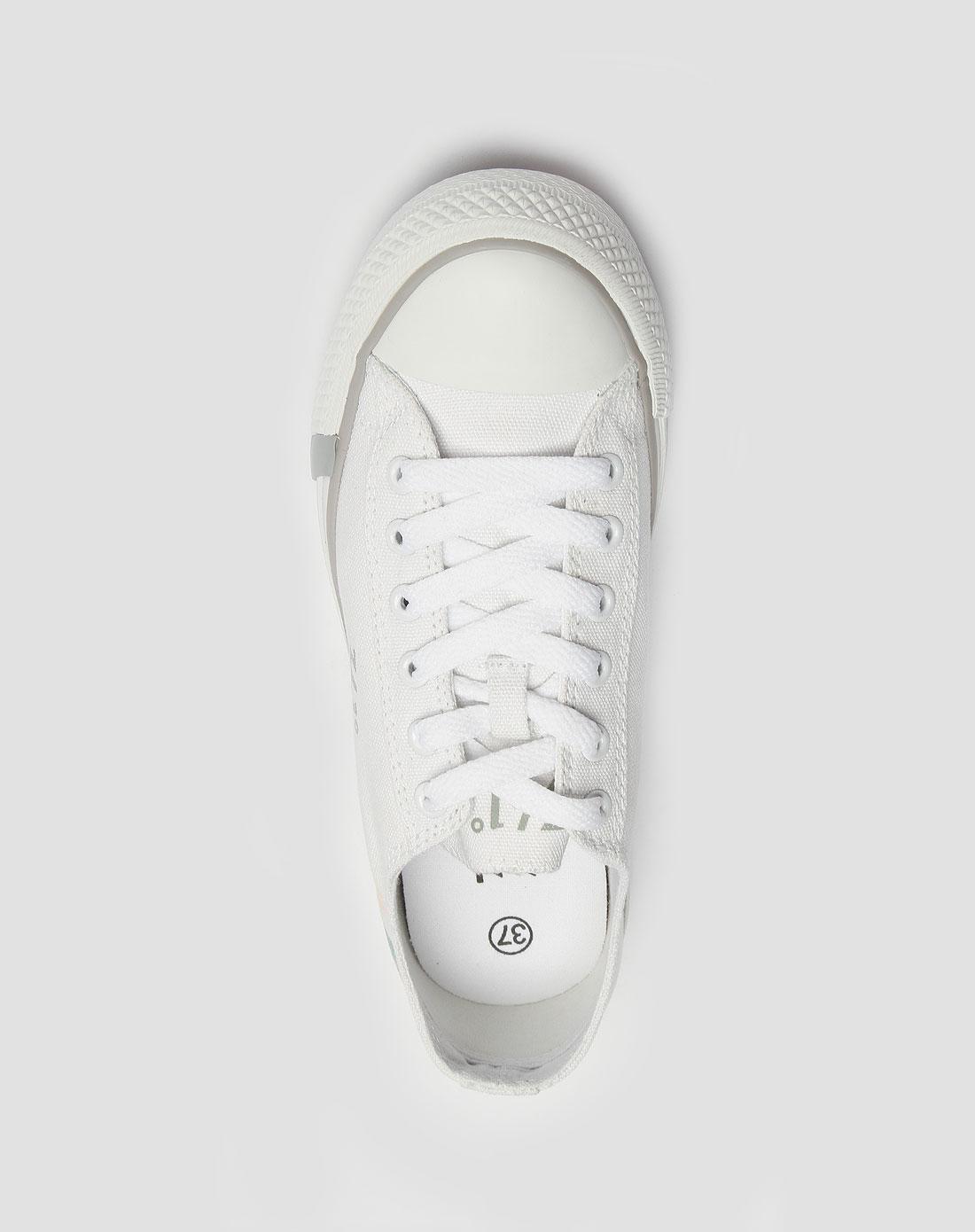 女款白/浅灰色帆布鞋_361°官网特价2.3-3