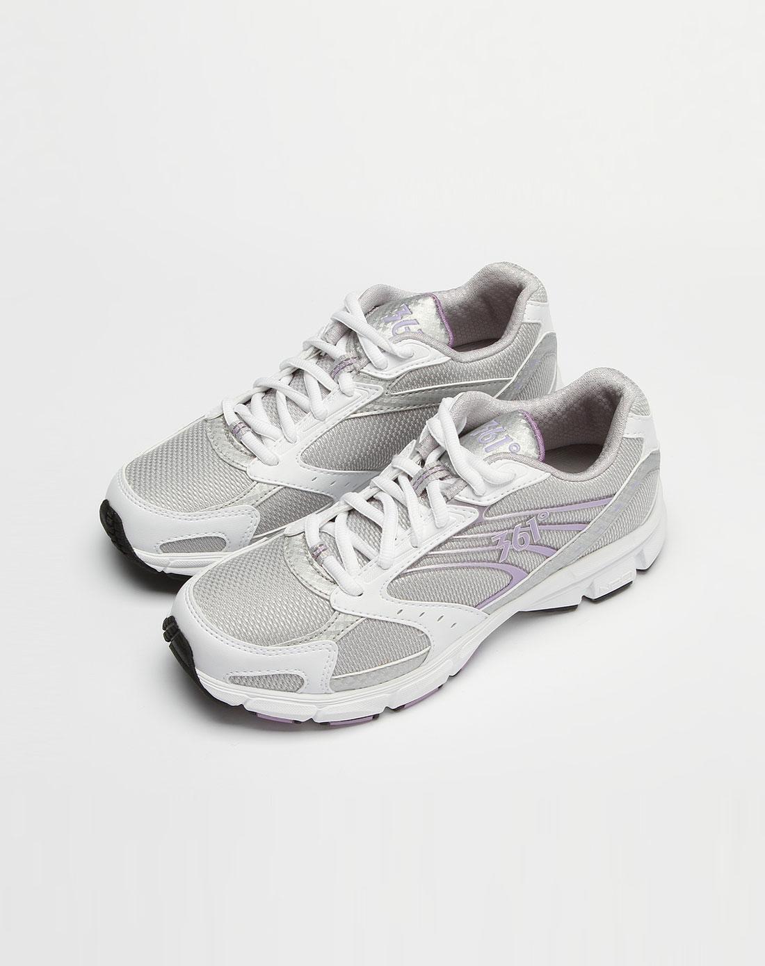 361°女装专场女款灰/白/紫色网面绑绳运动鞋