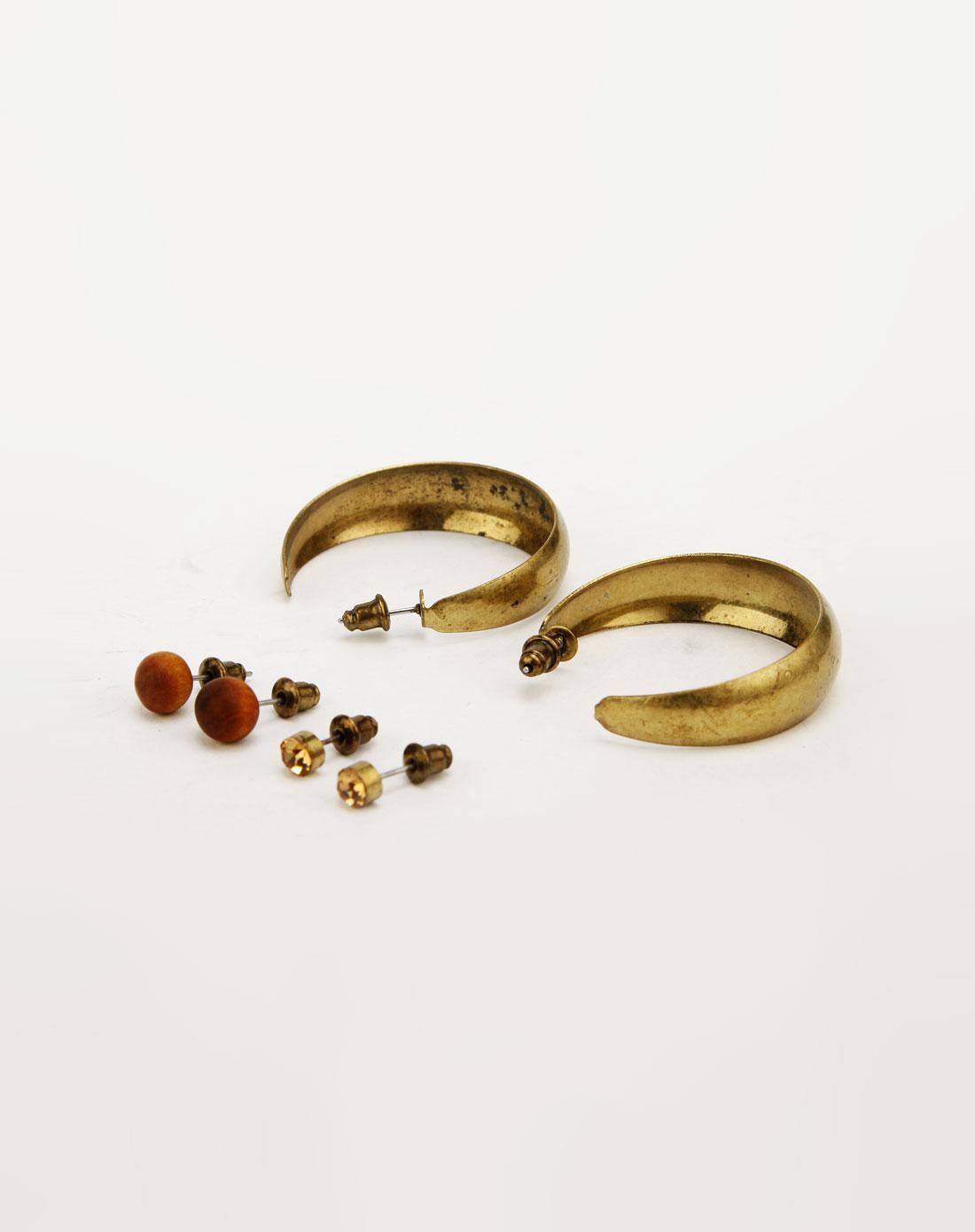twice金/啡色木珠耳钉c环耳环套装