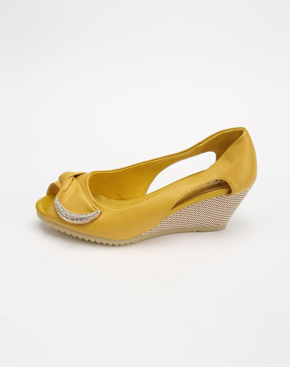 FASOLI黄色时尚牛筋底鱼嘴坡跟鞋1239实木框床图片