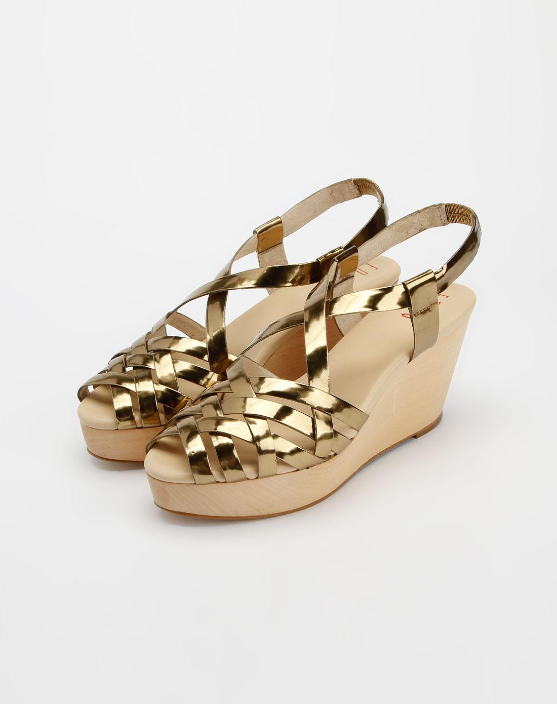 金色时尚高跟鱼嘴凉鞋
