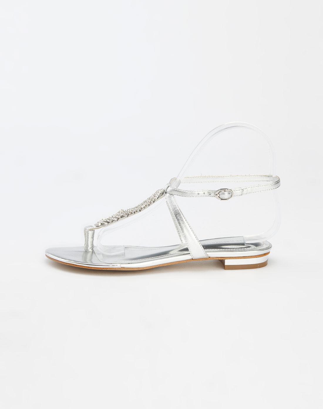 娜然naturalizer银色平底凉鞋