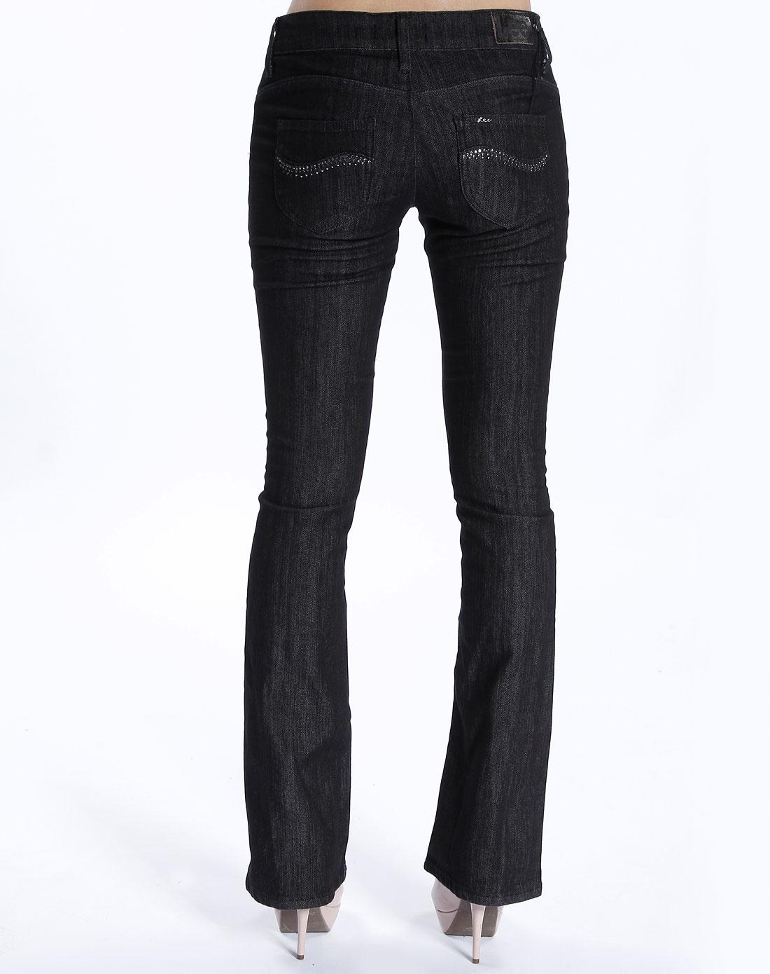 女款黑色紧身牛仔长裤