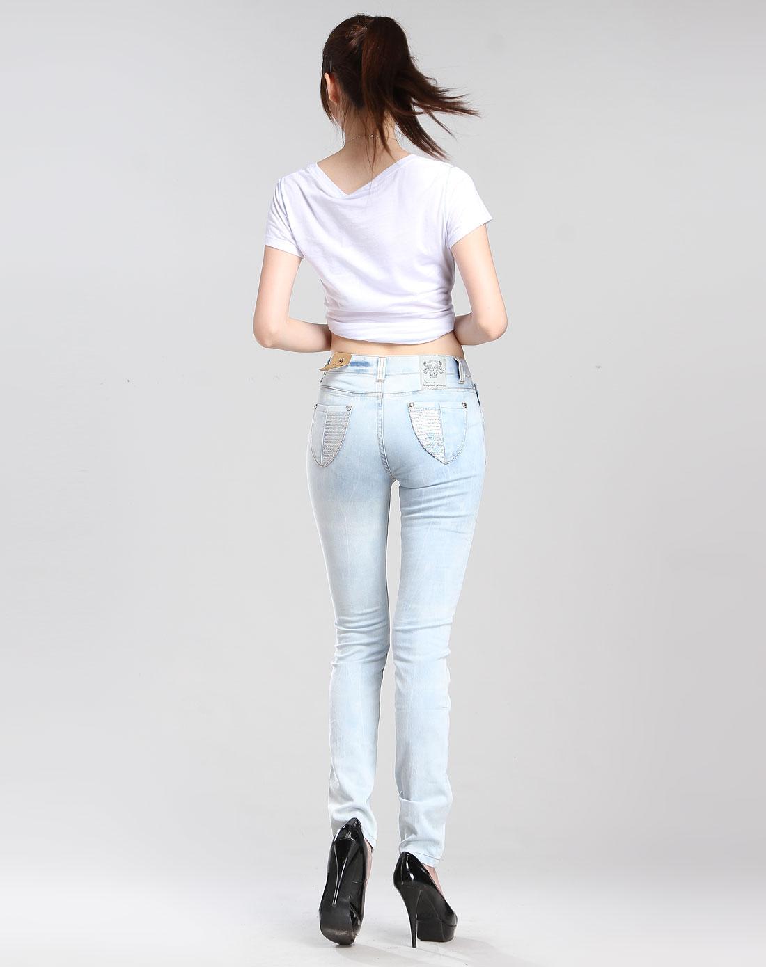 旗牌王kipone蓝/白色休闲中低腰牛仔长裤52120159