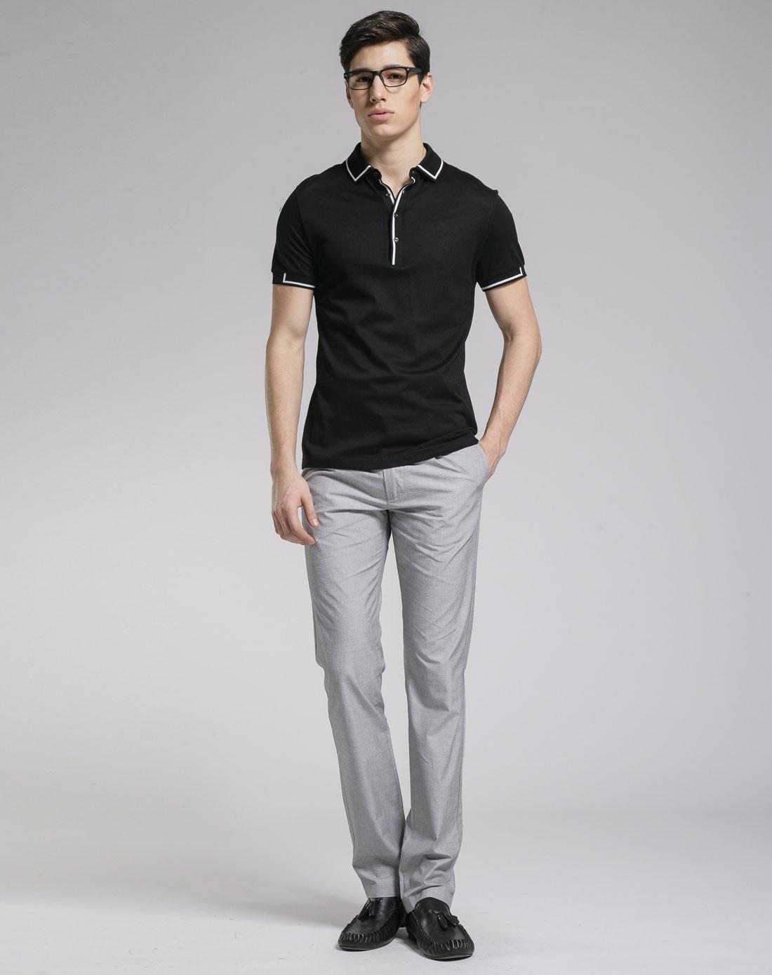 gxg 黑色翻领时尚短袖polo衫