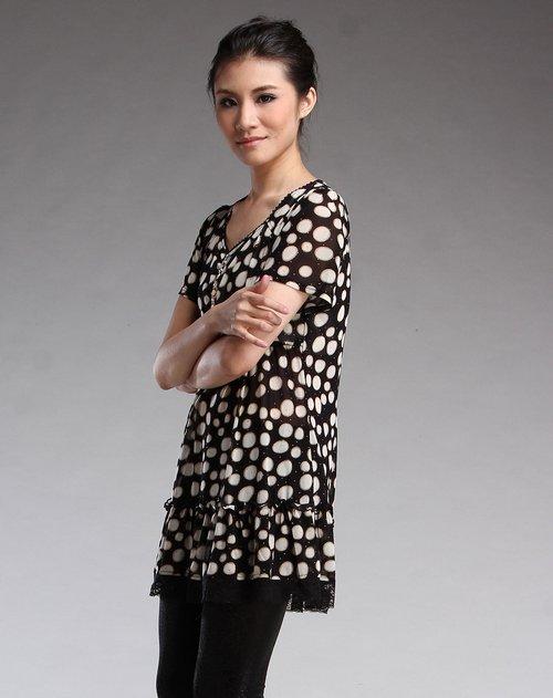 帕丝特pstl女装专场黑底米色圆圈时尚短袖连衣裙