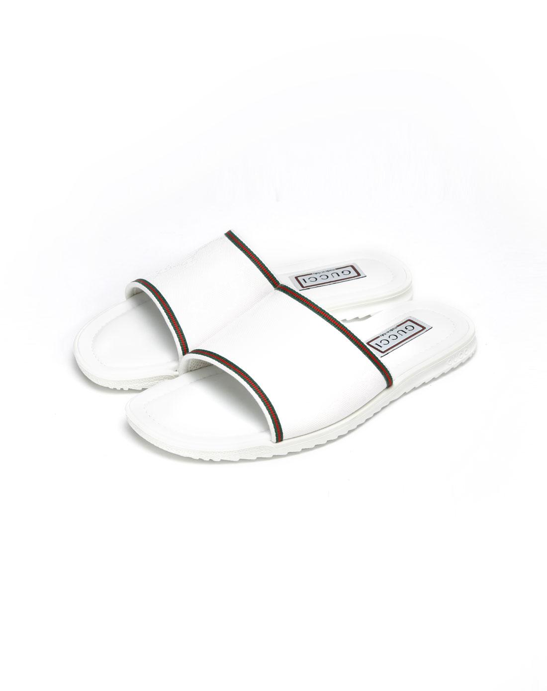 gucci鞋子专场男款白色压纹休闲拖鞋