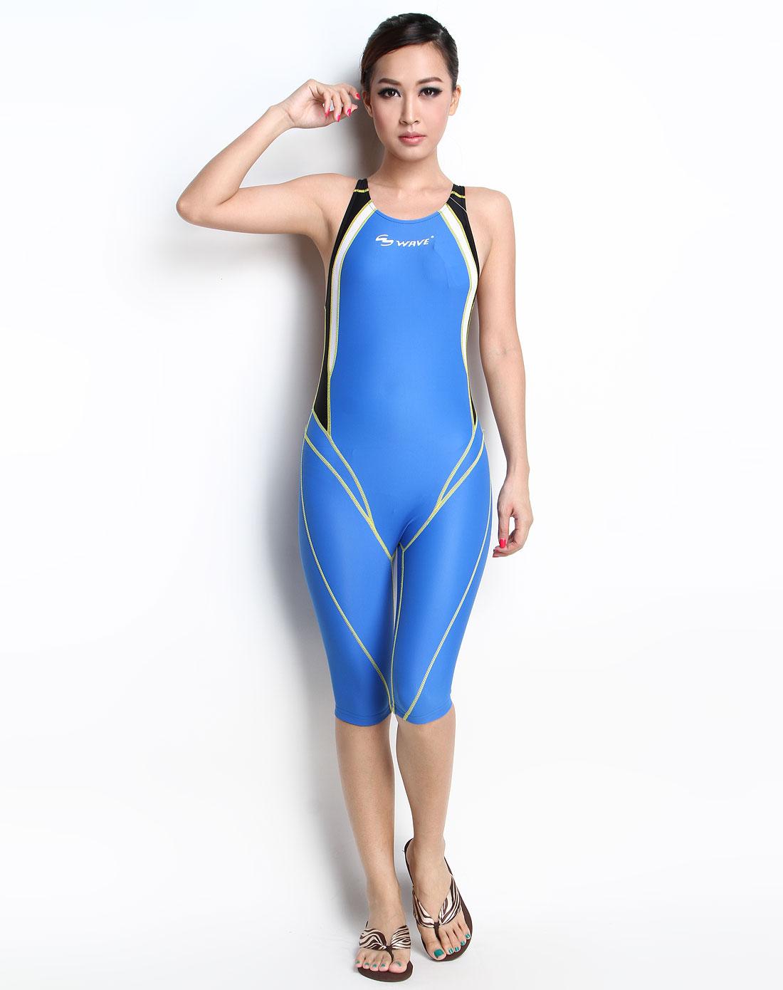 海浪wave运动专场-女装蓝色时尚成人泳衣