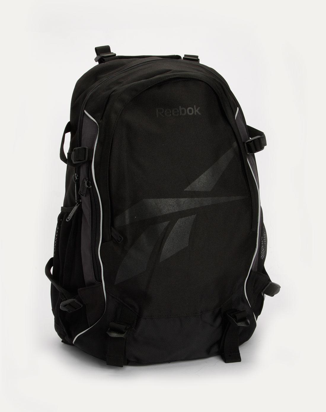 黑色印logo双肩背包