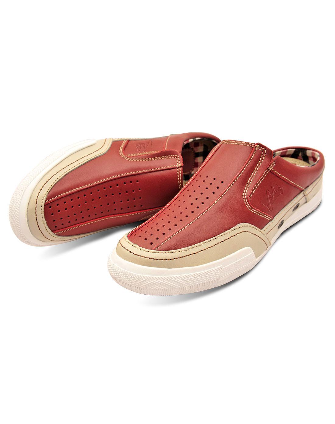 款酒红色休闲半拖懒人鞋