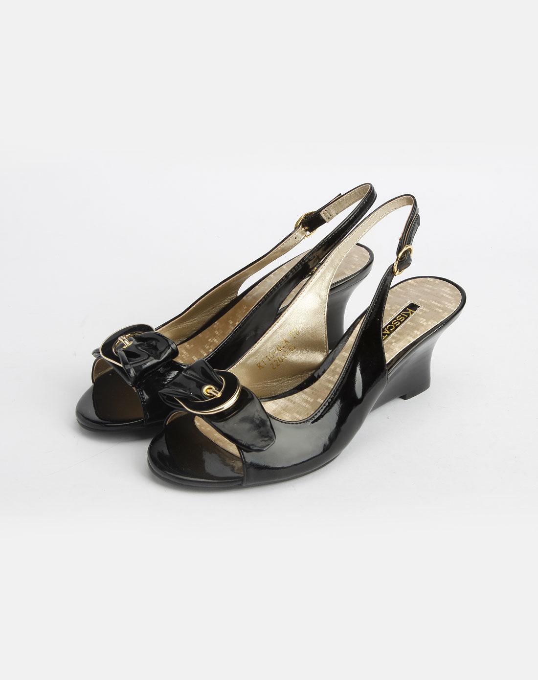 黑色时尚坡跟凉鞋_kisscat官网特价1.5-3.9折