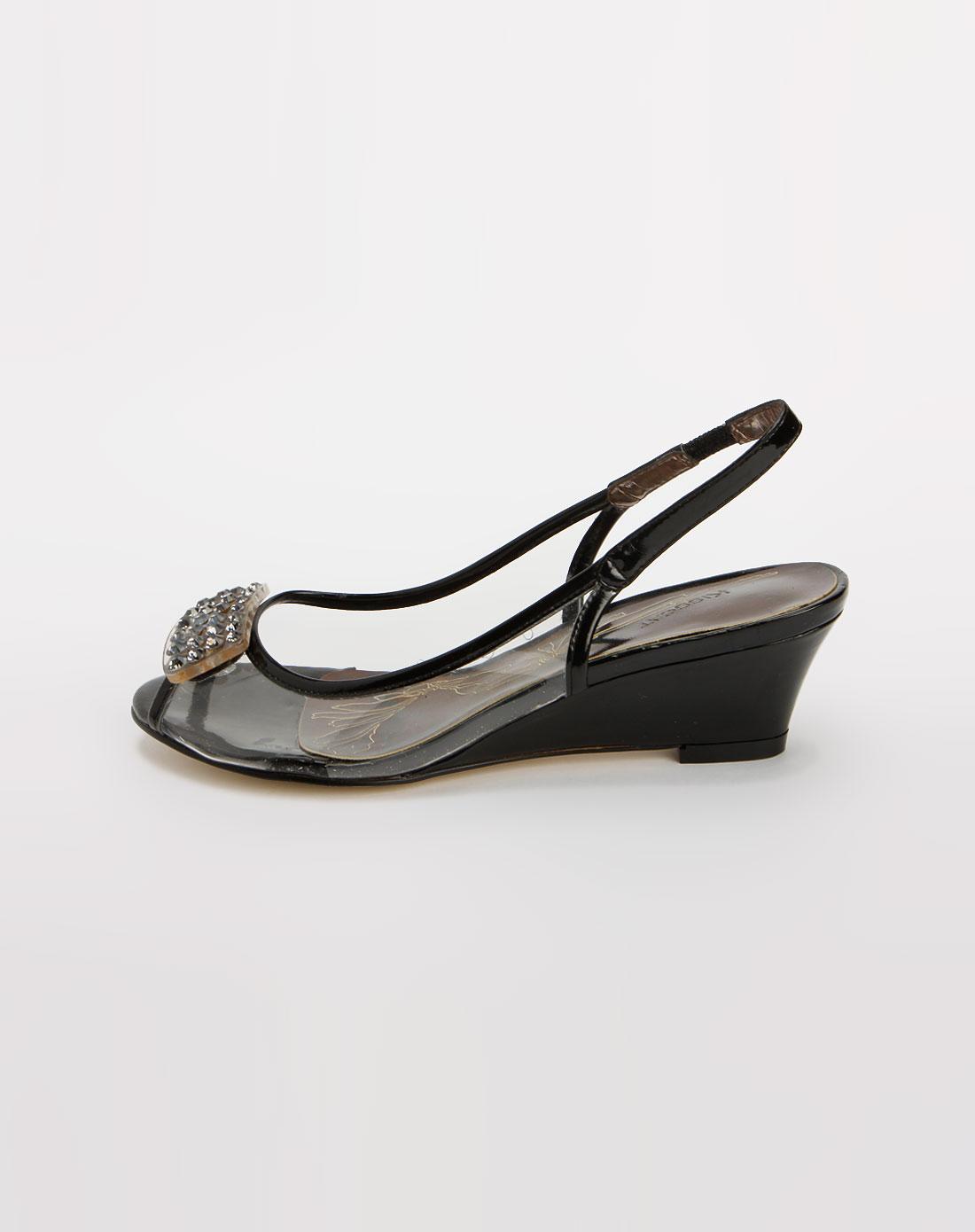 kisscat透明/黑色时尚坡跟凉鞋