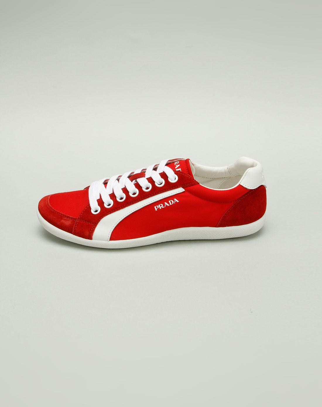 prada鞋子专场男款红/白色拼料休闲鞋4e1835rosso