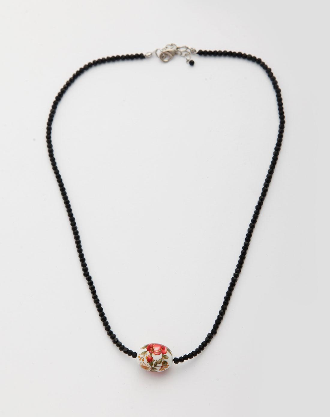mee女款黑色手绘珠项链