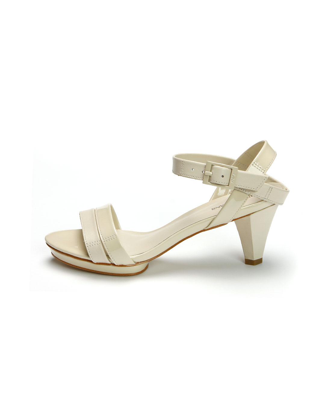 aj女款米白色漆皮高跟凉鞋