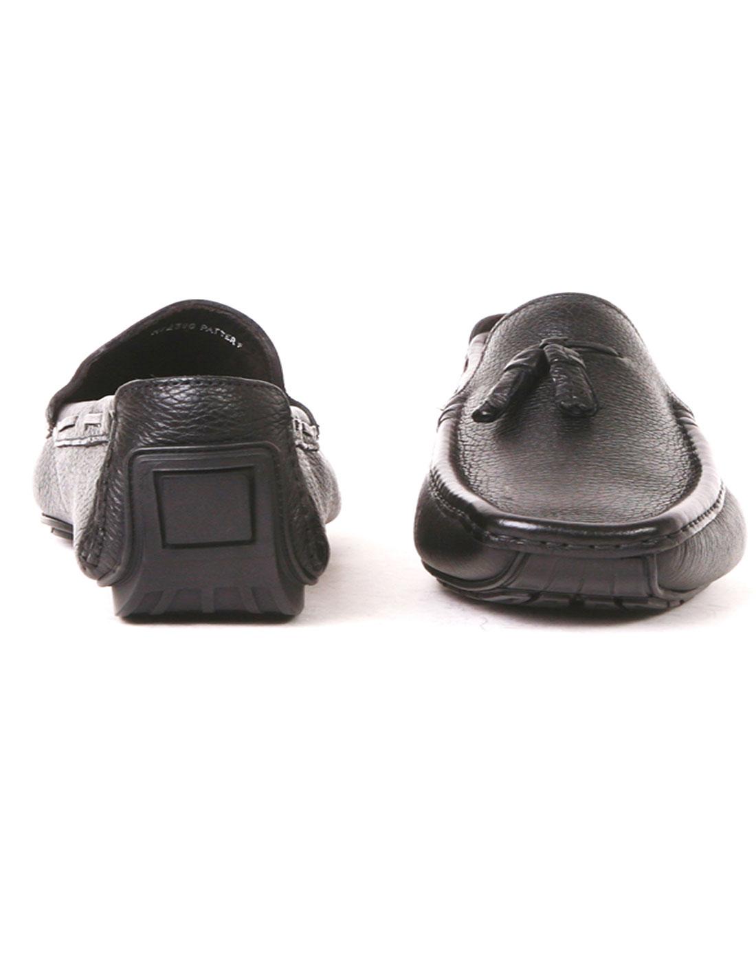 男士名鞋brunomagli 男士黑色牛皮方头休闲皮鞋