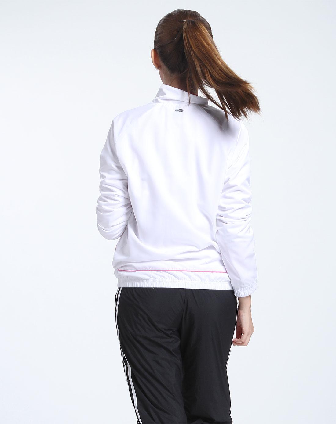 阿迪达斯adidas男女装女款白色长袖运动外套080518
