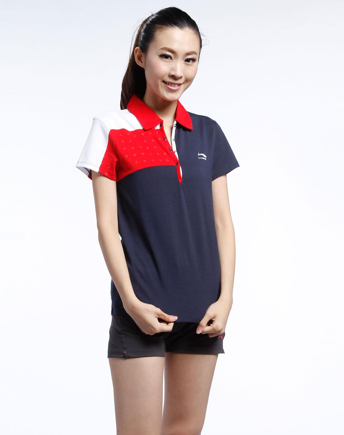 藏青/红色短袖polo衫