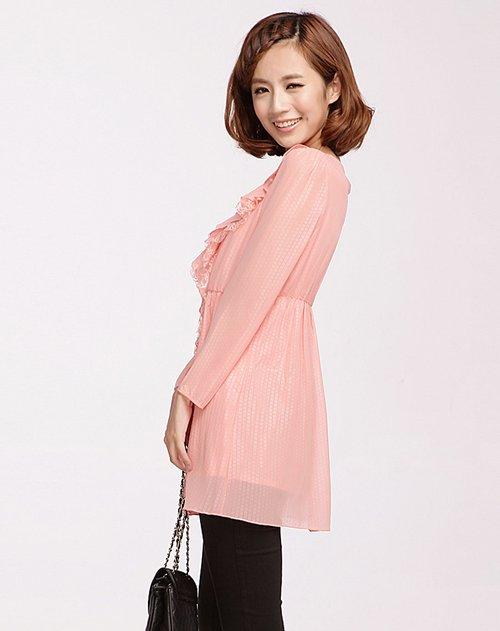oece女装专场粉色长袖裙子