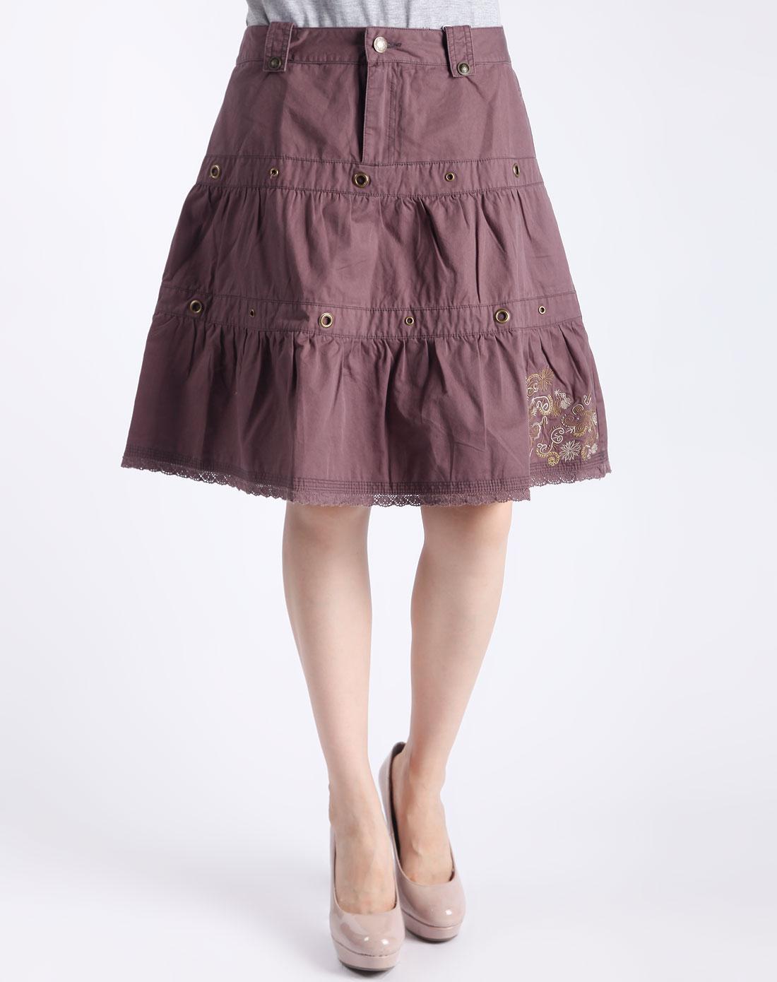 棕啡色时尚半截裙