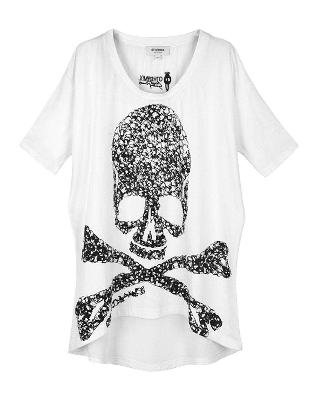 白色骷髅头印花短袖t恤