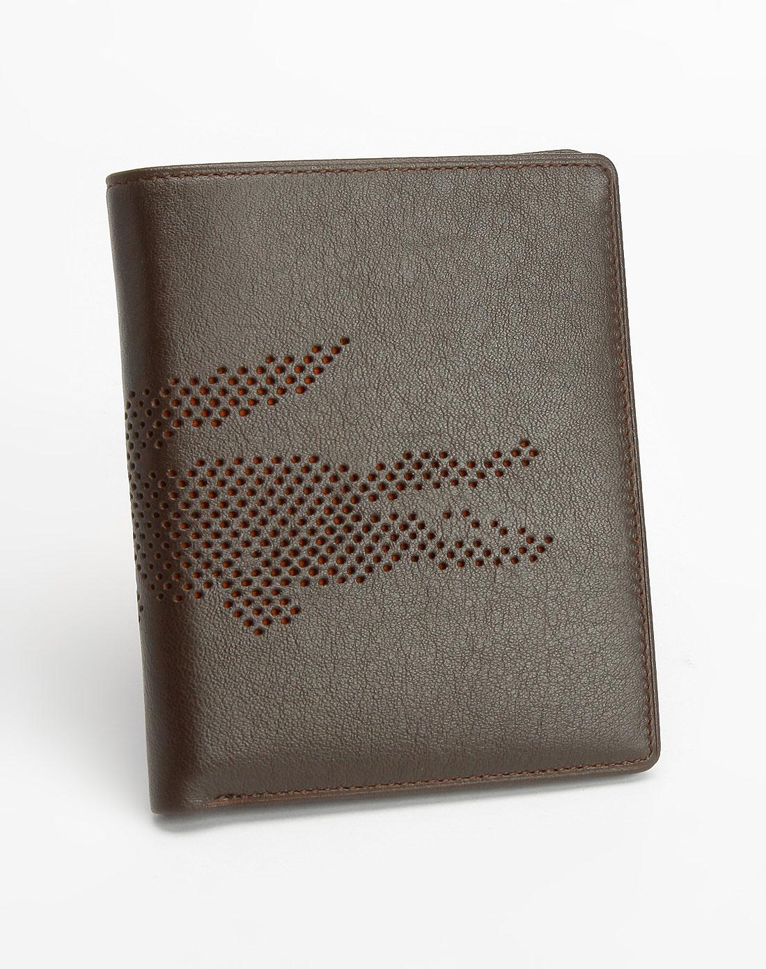 法国鳄鱼包包lacoste啡色时尚钱包