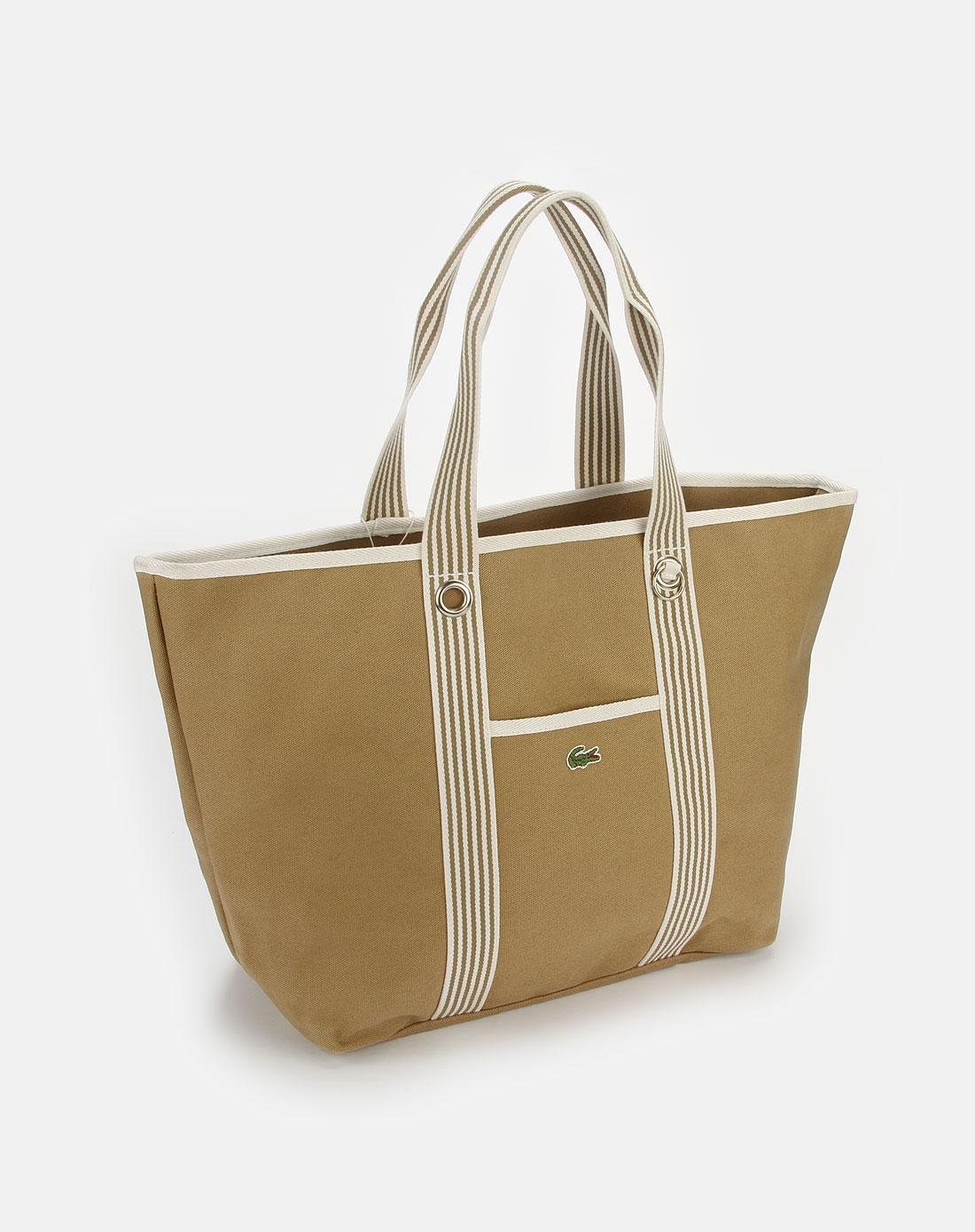 法国鳄鱼包包lacoste茶色休闲购物包