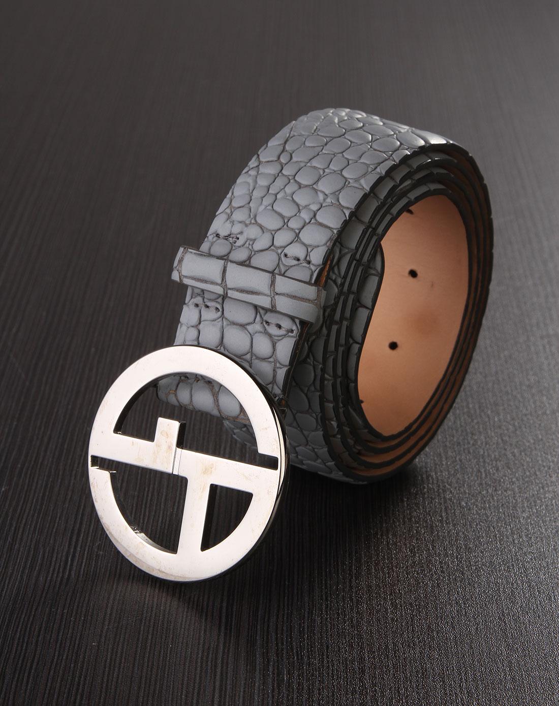 ga女款奢华经典logo金属扣蛇皮纹皮带灰色
