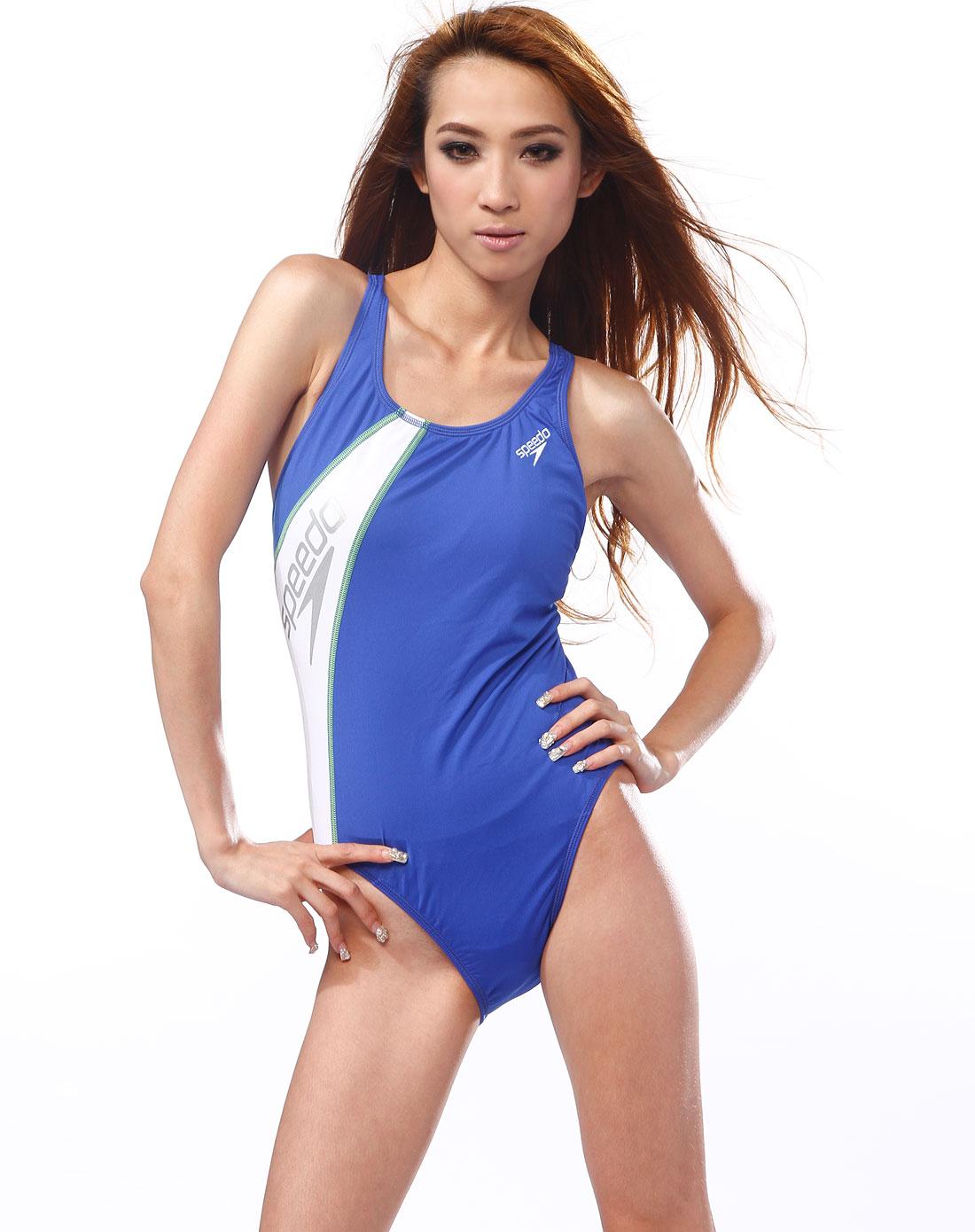 深蓝/白色连体泳衣