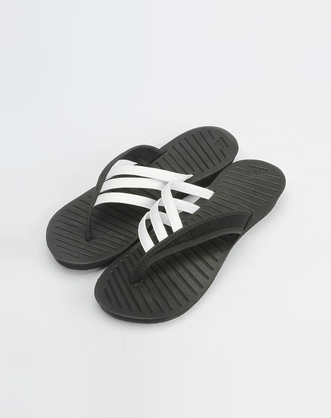 阿迪达斯adidas女款黑/白色休闲人字拖鞋473176