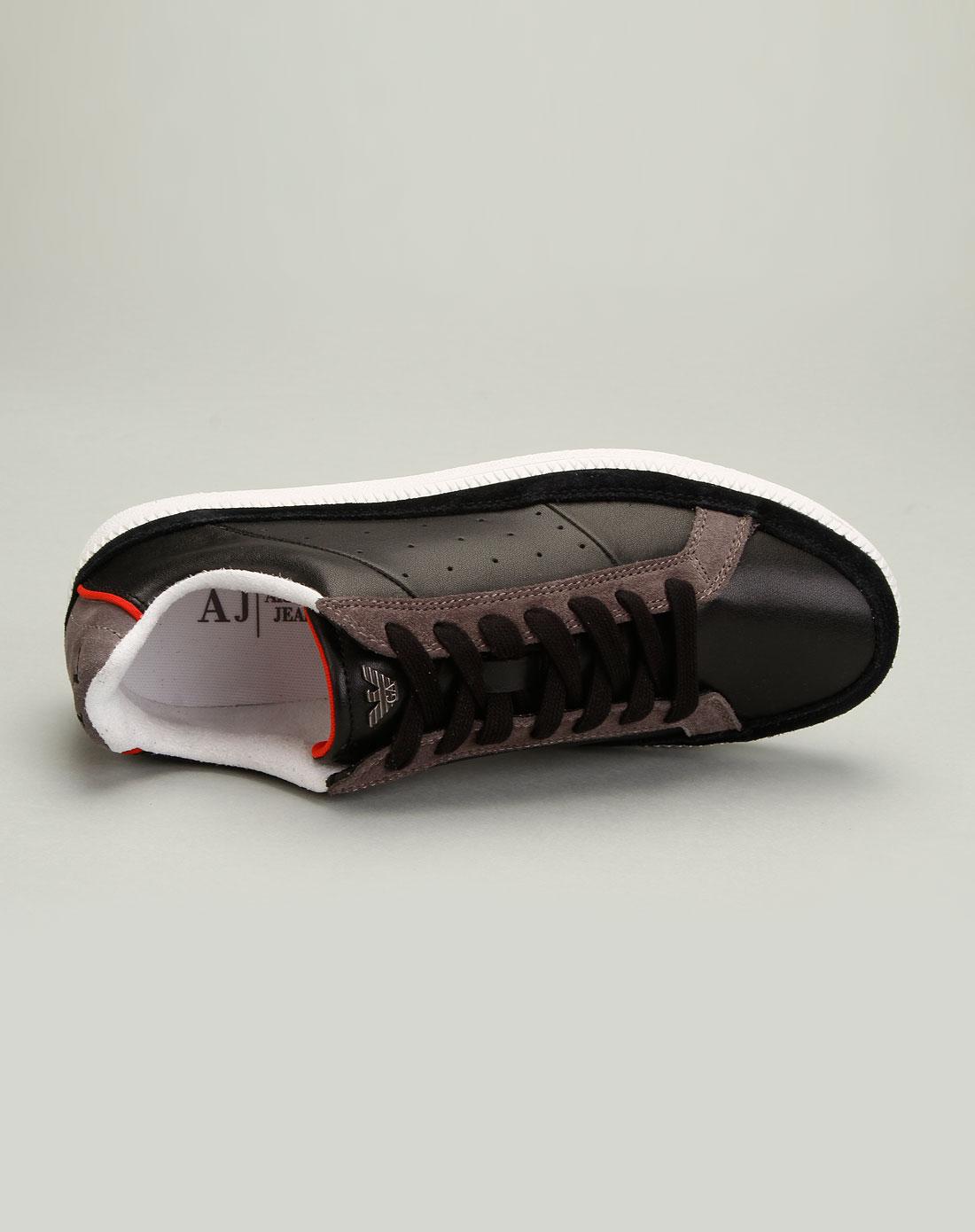 armani鞋子专场aj男款简约风尚透气真皮休闲鞋黑色
