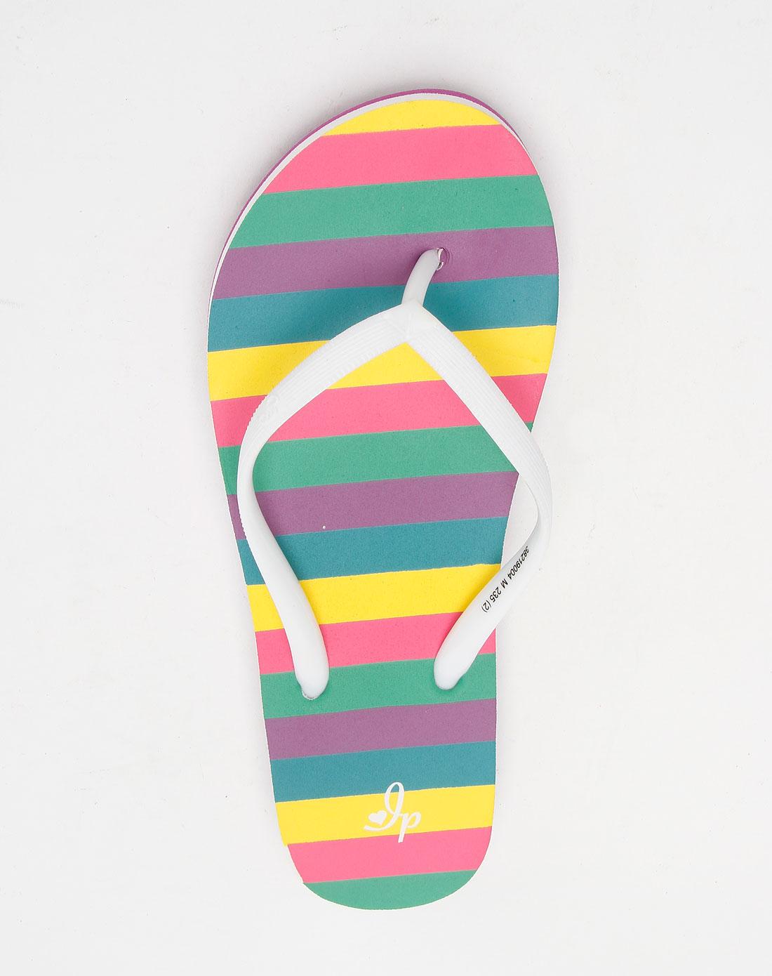 彩色蔬�:i��i-_互动地带i.p.zone女装专场-彩色时尚条纹沙滩拖鞋