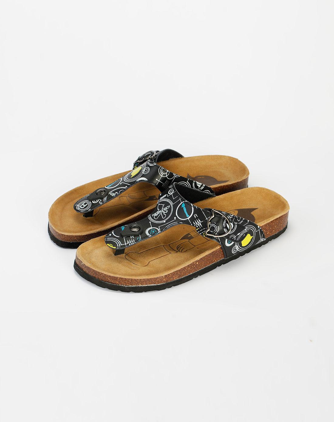boy黑色夹指拖鞋