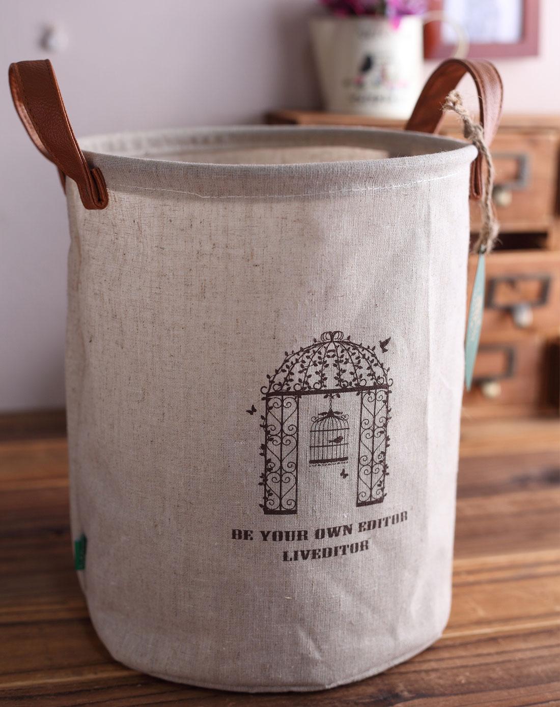 棉麻布艺收纳桶
