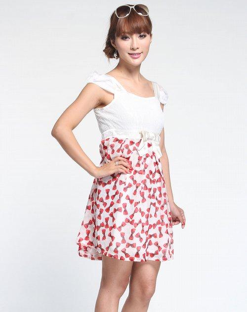 简画gea ave女装专场红色时尚印纹短袖连衣裙