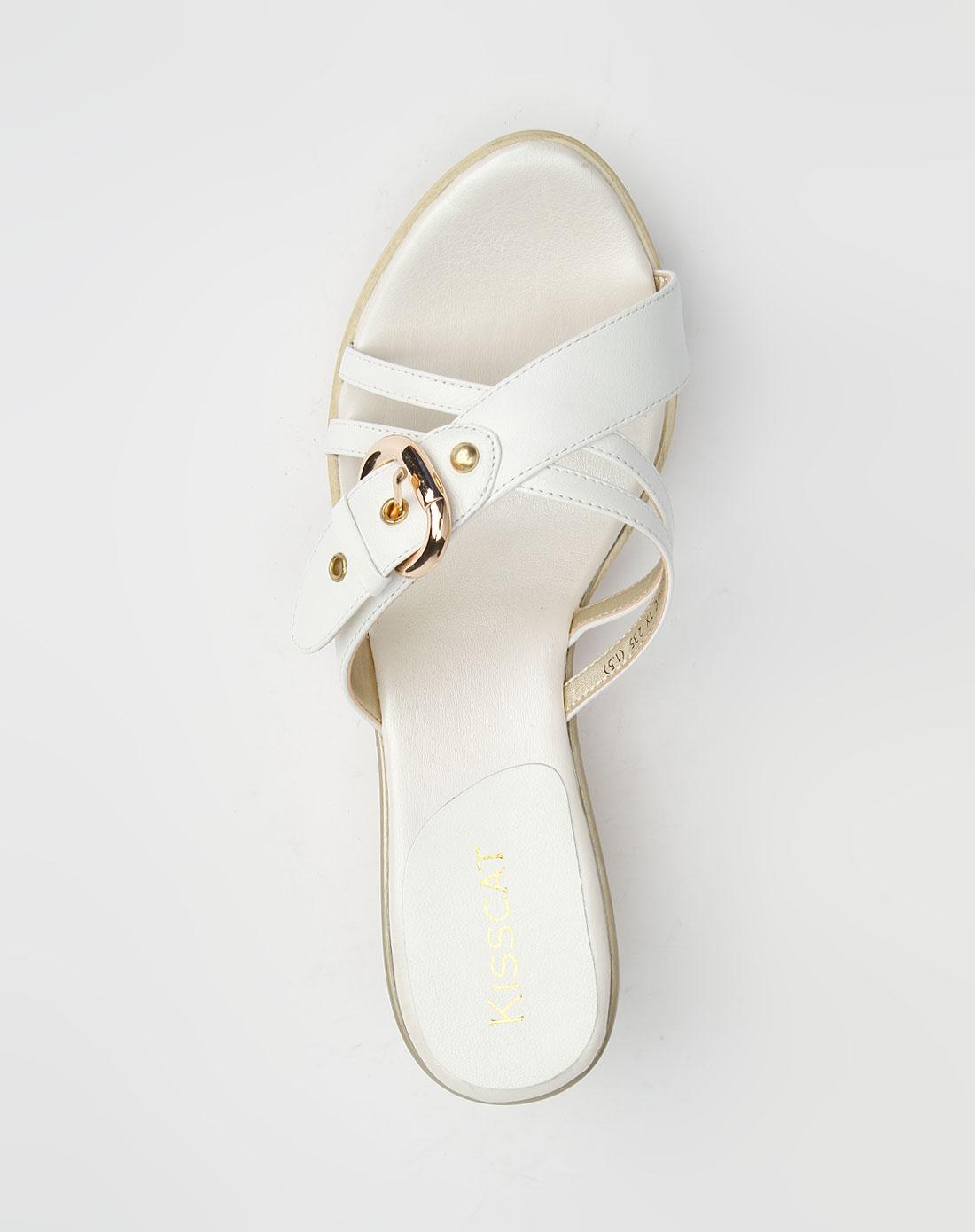 白色舒适羊皮凉鞋_kisscat官网特价1.5-3.5折