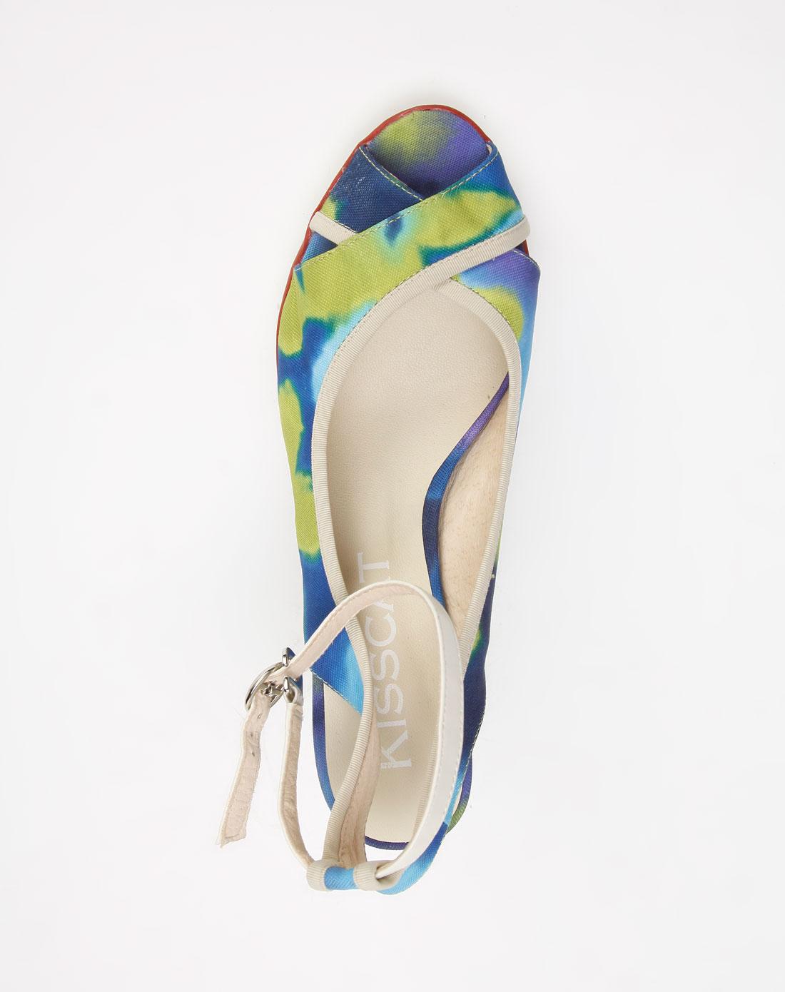 蓝/紫/绿色花布凉鞋_kisscat官