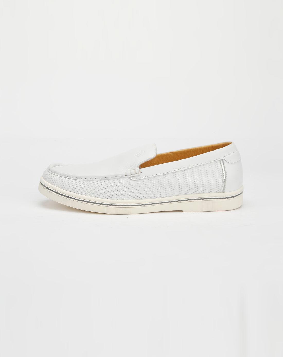 百伦bolune白色软皮休闲皮鞋